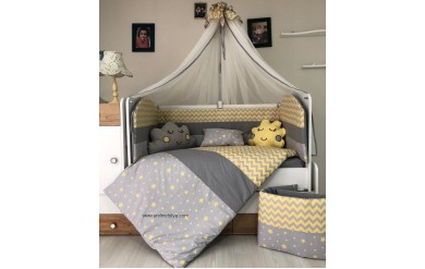 Yıldız Gri Sarı Uyku Seti Takımı