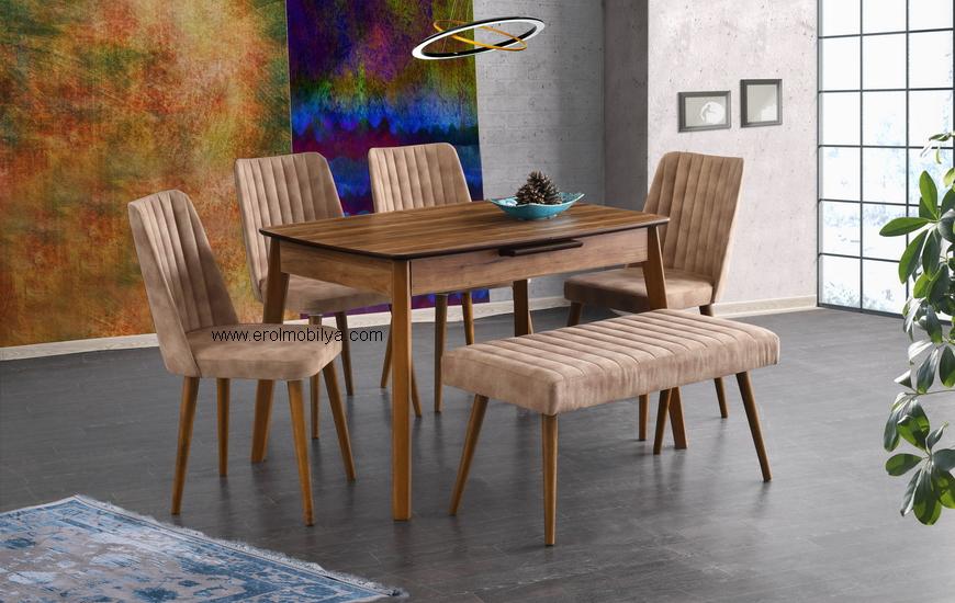 Ece Ceviz Masa Sandalye Takımı